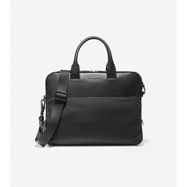 GRANDSERIES Nylon and Leather Attache, Black, hi-res