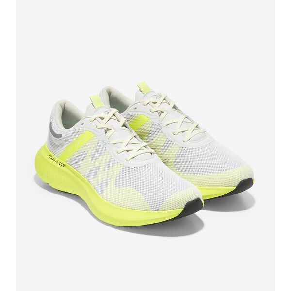 ZERØGRAND Outpace 2 Running Shoe, Optic White-Safety Yellow, hi-res