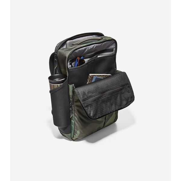 ZERØGRAND Slim Convertible Backpack, Black Olive Camo, hi-res