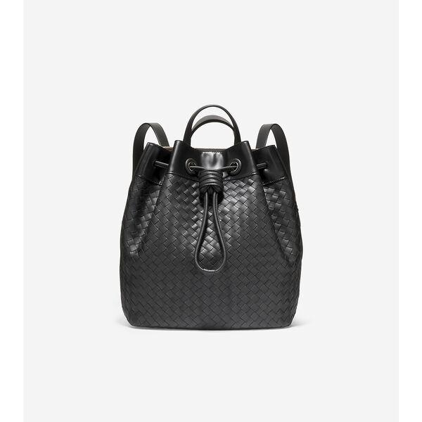 Woven Leather Drawstring Backpack, Black, hi-res