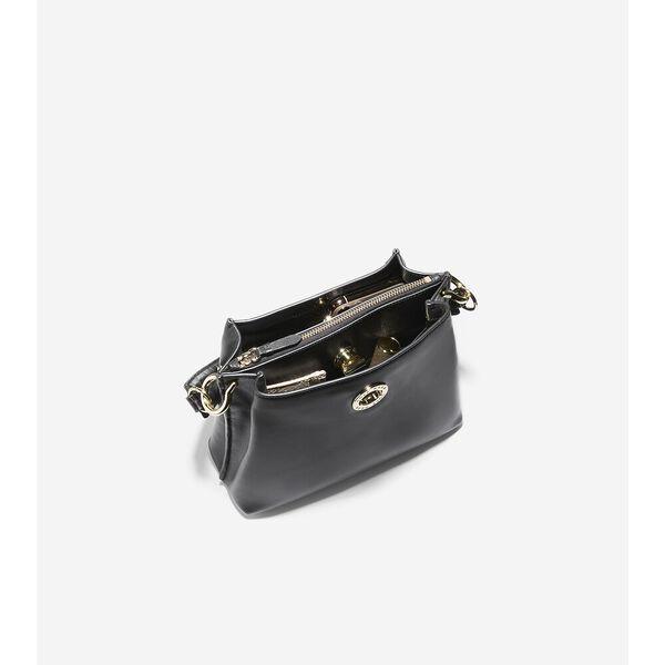 Small Turnlock Bucket Bag, Black, hi-res