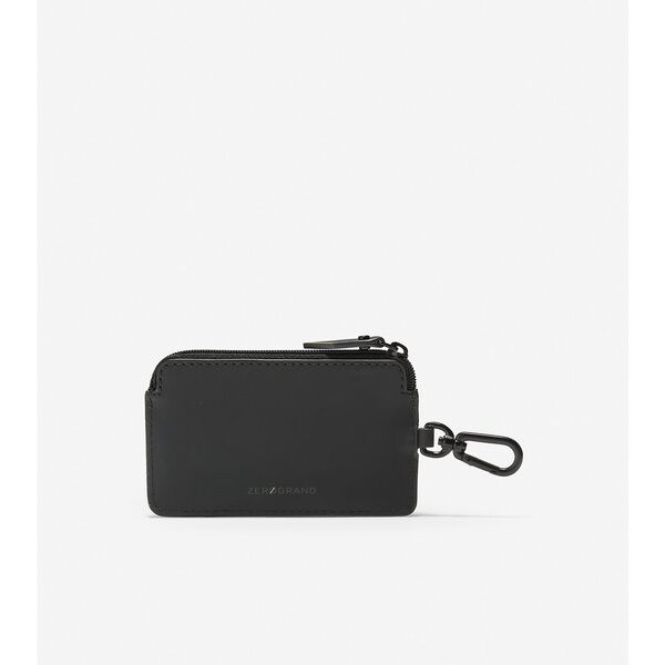 ZERØGRAND Zip Card Case with Key Ring, Black-Cyber Yellow, hi-res