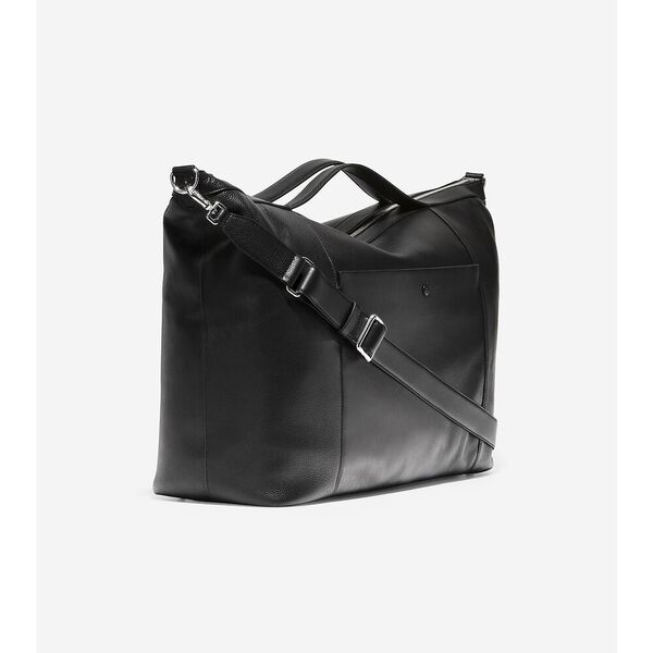 Grand Ambition Large Leather Weekender Duffle, Black, hi-res