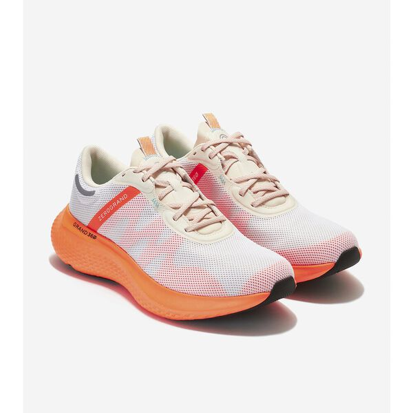 ZERØGRAND Outpace 2 Running Shoe, Optic White-Shocking Orange, hi-res
