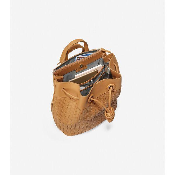 Woven Leather Drawstring Backpack, Camel, hi-res