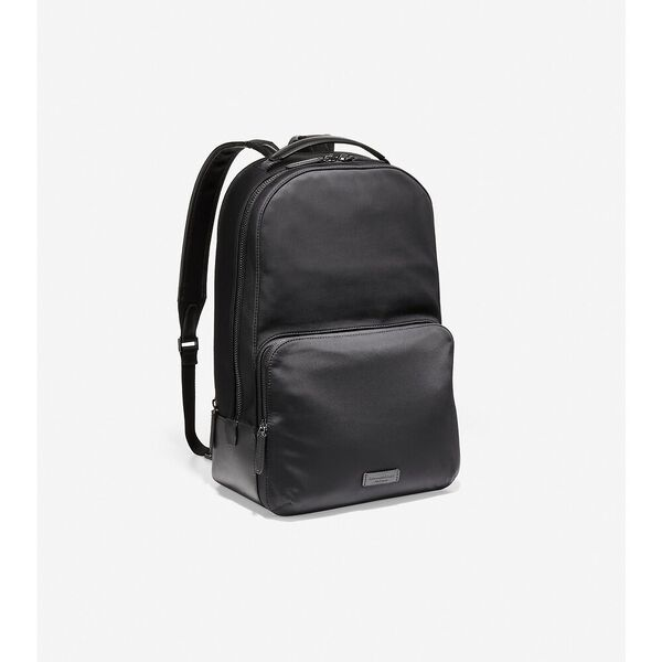Nylon with Leather Backpack, Black, hi-res