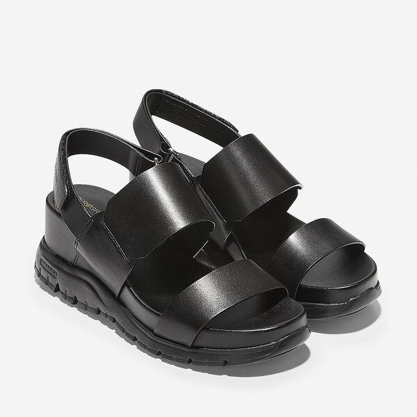 ZERØGRAND Wedge Sandal, Black Leather-Black, hi-res
