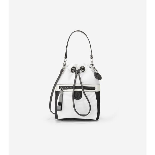 Nylon Drawstring Crossbody, White-Black, hi-res