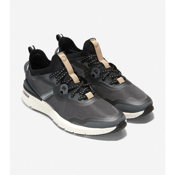 ZERØGRAND Overtake Running Shoe, Grey Pinstripe-Black-Ivory, hi-res